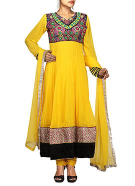 Yellow N Black Georgette Anarkali Suit