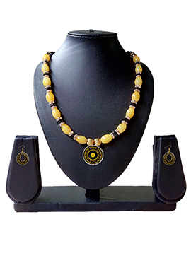 Yellow N Black Necklace Set