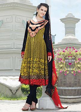 Yellow N Black Printed Anarkali Suit
