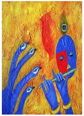Yellow N Blue Krishna Canvas