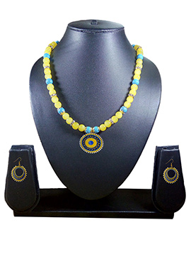 Yellow N Blue Necklace Set