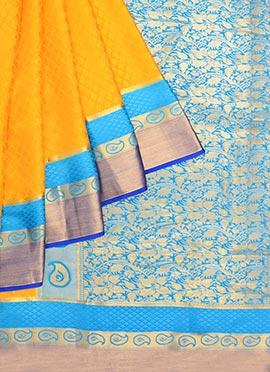 Yellow N Blue Pure Handloom Mysore Silk Saree