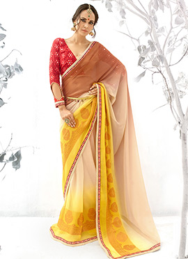 Yellow N Brown Ombre Georgette Saree