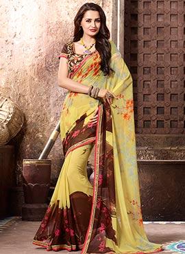 Yellow N Brown Printed Saree