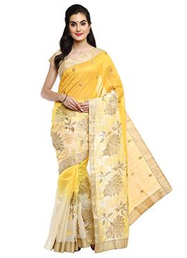 Yellow N Cream Ombre Chanderi Art Silk Saree