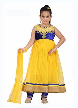 Yellow N Dark Blue Net Anarkali Suit