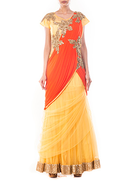 Yellow N Dark Orange Lycra N Net Saree Gown