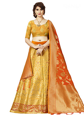 Yellow N Gold Art Silk A Line Lehenga