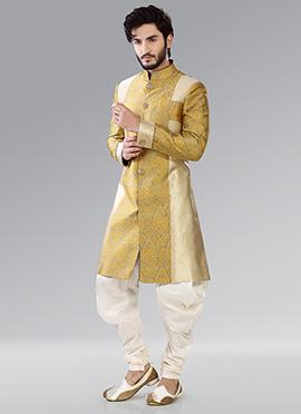 Yellow N Golden Patiala Style Sherwani