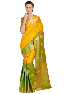 Yellow N Green Art Benarasi Silk Saree
