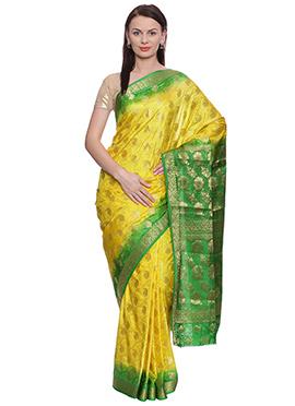 Yellow N Green Art Kancheepuram Silk Saree