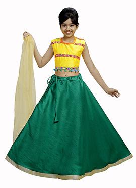 Yellow N Green Art Silk Kids A Line Lehenga