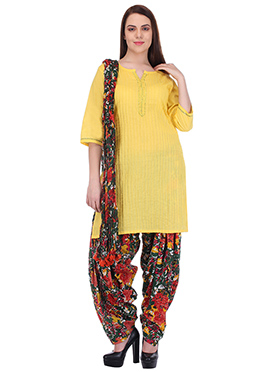 Yellow N Green Pure Cotton Patiala Suit