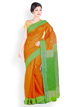 Yellow N Green Cotton Art Silk Saree