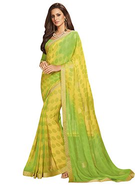 Yellow N Green Georgette Saree