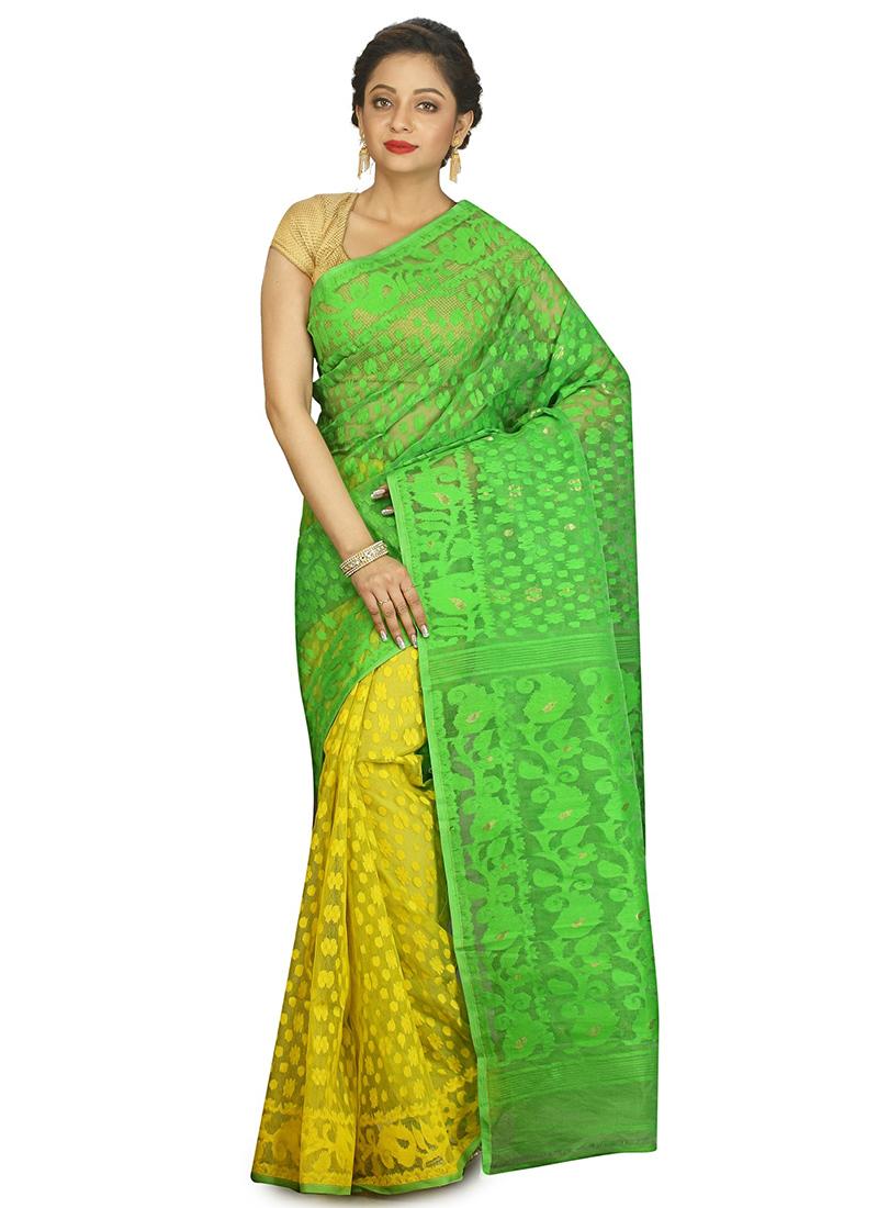 f7d21fdb730 Buy Yellow N Green Handloom Cotton Silk Half N Half Jamdani Saree ...