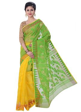 Yellow N Green jamdani Half N Half Saree