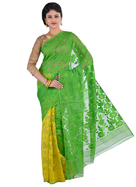Yellow N Green Jamdani Muslin Silk Half N Half Saree