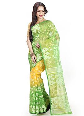 Yellow N Green Jamdani Saree
