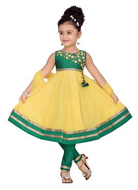 Yellow N Green Net Kids Anarkali Suit