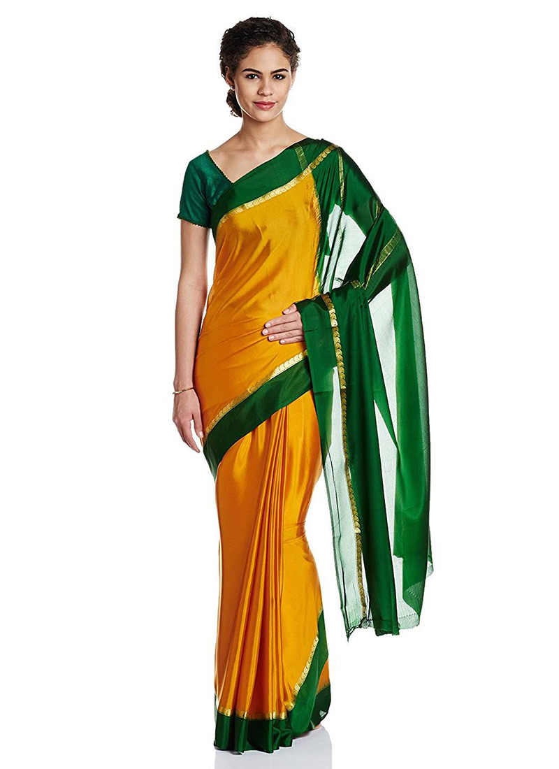 fdf2e7c9aba Buy Yellow N Green Pure Mysore Silk Saree