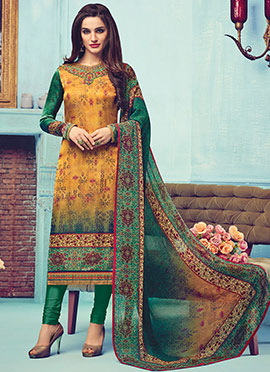 Yellow N Green Satin Crepe Churidar Suit