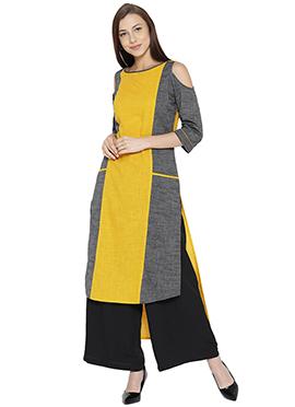 Yellow N Grey Cotton Kurti