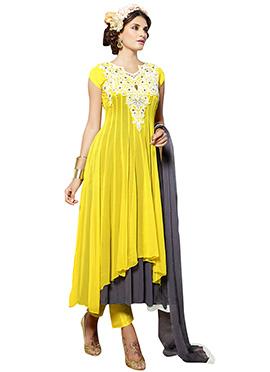 Yellow N Grey Georgette Anarkali Suit