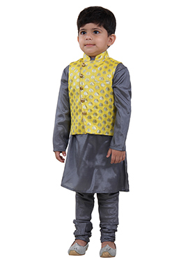 Yellow N Grey Kids bandi Set