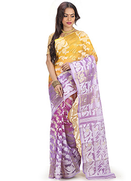 Yellow N Lavender Jamdani Half N Half Saree