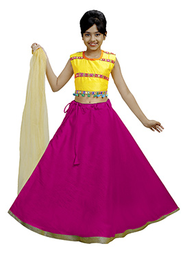 Yellow N Magenta Art Silk Kids A Line Lehenga