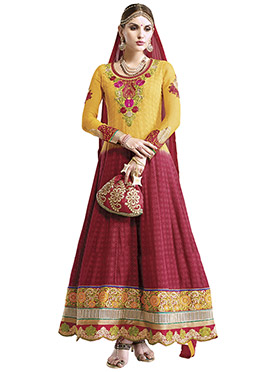 Yellow N Maroon Ombre Ankle Length Anarkali Suit
