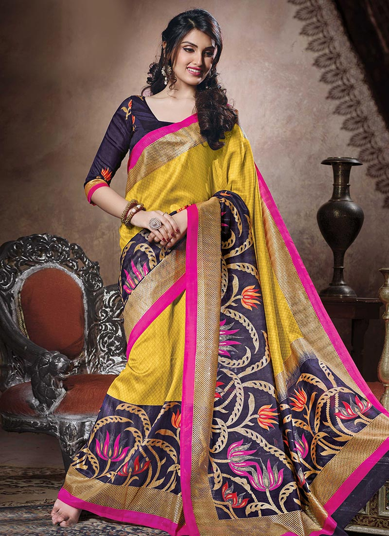 baf483e5c0 Buy Yellow N Navy Blue Art Bhagalpuri Silk Saree, Printed ...