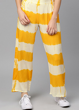 Yellow N Off White Cotton Rayon Palazzo Pant