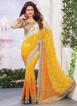 Yellow N Off White Ombre Saree