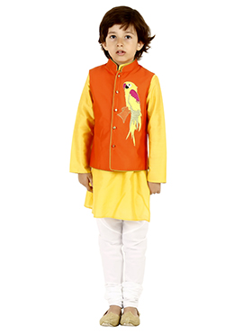 Yellow N Orange Art Silk Cotton Kids Bandi Set