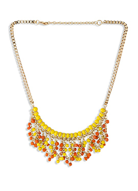Yellow N Orange Beads Chain Necklace