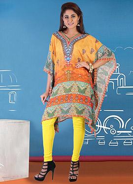 Yellow N Orange Georgette Kaftan