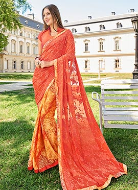 Yellow N Orange Half N Half Saree