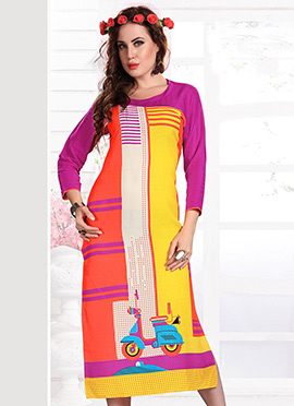 Yellow N Orange Rayon Kurti