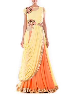 Yellow N Orange Saree Gown