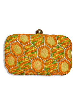 Yellow N Orange Silk Box Clutch