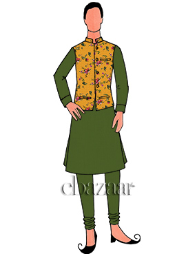 Yellow N Pickle Green Cotton Bandi Set
