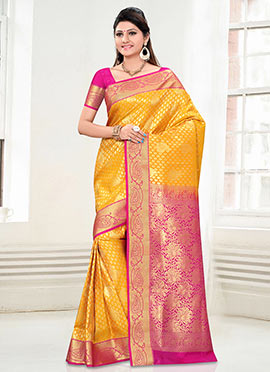 Yellow N Pink Art Kancheepuram Silk Saree