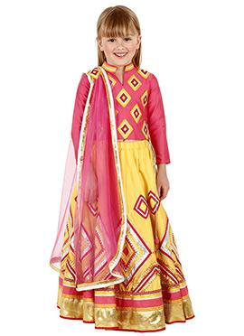 Yellow N Pink Art Silk Cotton Kids Lehenga