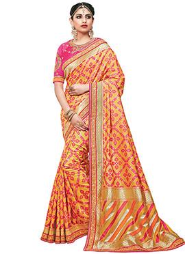 Yellow N Pink Art Silk Saree