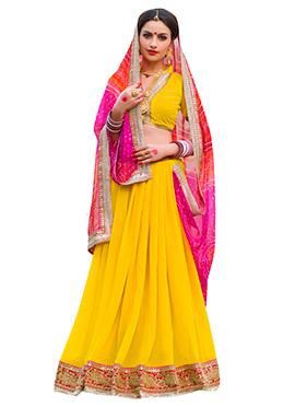 Yellow N Pink Bandhini Half N Half Saree