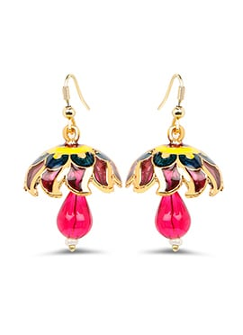 Yellow N Pink Jhumka Earrings