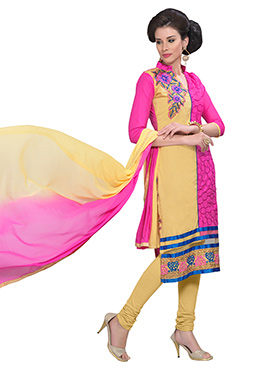 Yellow N Pink Blended Cotton Churidar Suit