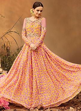 Yellow N Pink Georgette Abaya Style Anarkali Suit